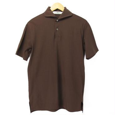 ワイドカラー ブラウン ポロシャツ 半袖