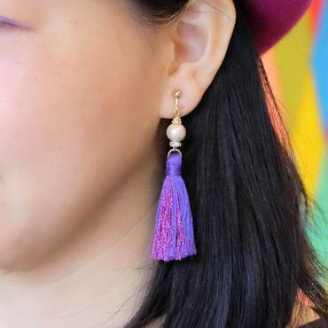 AC03 タッセルのピアス/イヤリング 葡萄(紫)