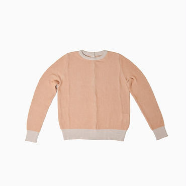 Double stripe 2 way knit * Nude coral