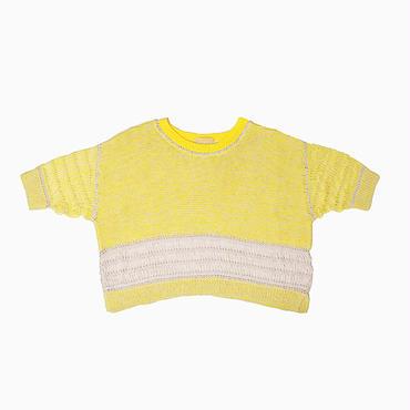 Mixed yarn hand knit * Yellow