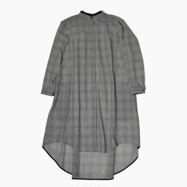 See through back gathered long shirt * Glencheck