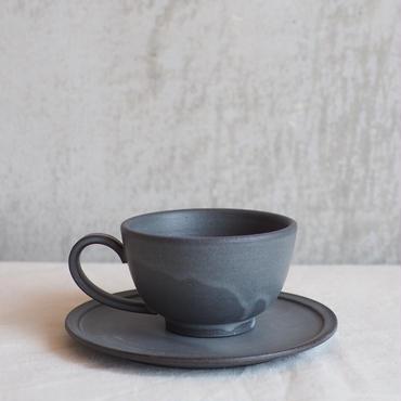 黒泥カップ&ソーサー【3rd ceramics】