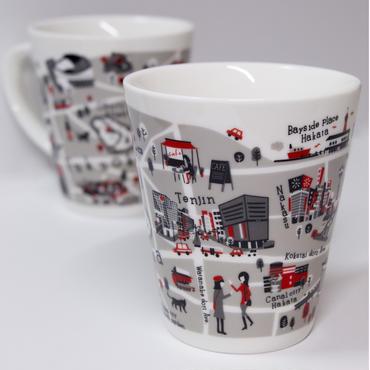 福岡 地図マグカップ(レッド)