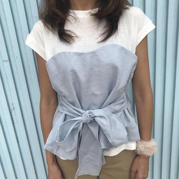 ウエストリボンビスチェドッキングTシャツ(2color)【クリックポスト送料無料】