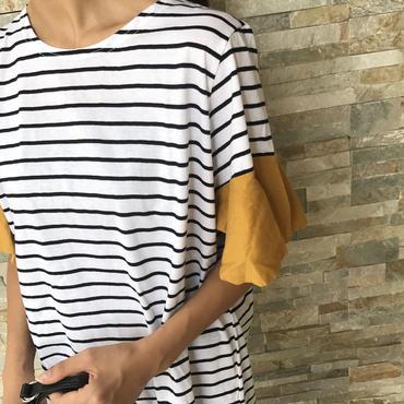 袖カラーフレアゆったりボーダーカットソー(2color)【クリックポスト送料無料】