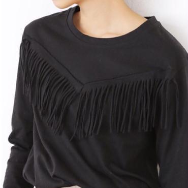 フリンジロングTシャツ(2color)