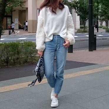 袖が可愛いふわふわフェイクファーボリュームスリーブプルオーバー(4color)【クリックポスト送料無料】