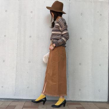 コーデュロイフリンジロングスカート(2color)