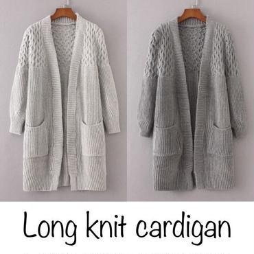 大人のこなれ感!!ケーブル編み切り替えゆったりロングリブニットカーディガン(2color)