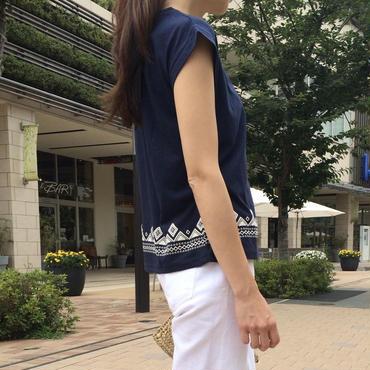 発泡プリントフレンチスリーブTシャツ【クリックポスト送料無料】