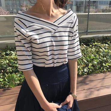 ★定価2808円→2247円★2WAYシンプルボーダーVネックTシャツ(3color)【クリックポスト送料無料】