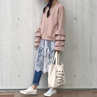 ★スペシャルプライス★ボリューム袖フリルラウンドネックプルオーバー(4color)