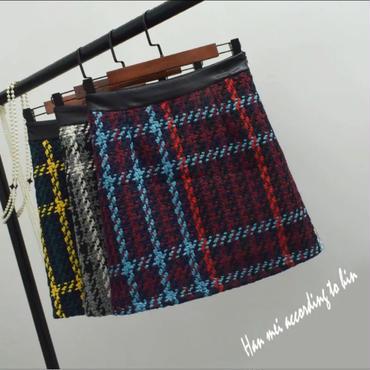 カラフルチェック台形ミニスカート