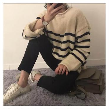 ボーダーニットセーター