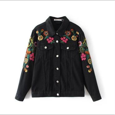 フラワー刺繍ブラックデニムジャケット