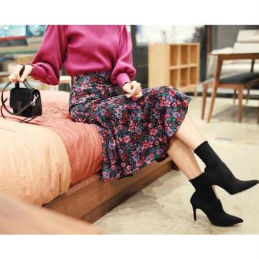 花柄裾フリルスカート