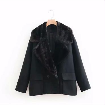 襟ファーブラックコート