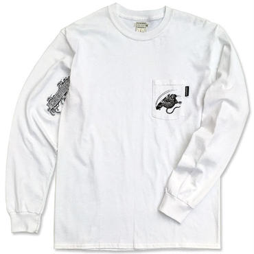 "【再入荷】CREIGHT×野坂稔和 ""SKATE RAT"" CustomPocket L/S TEE / WHITE"