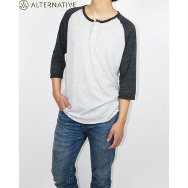 ALTERNATIVE(オルタナティブアパレル) Basic Eco-Jersey 3/4 Sleeve Raglan Henley Shirt ラグランシャツ