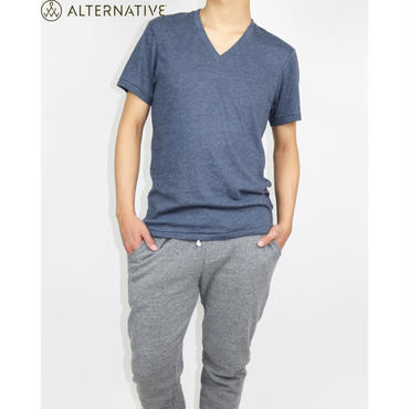 Alternative Apparel(オルタナテ ィブアパレル)Boss V-Neck Eco- J ersey T-Shirt VネックT  ネイビー
