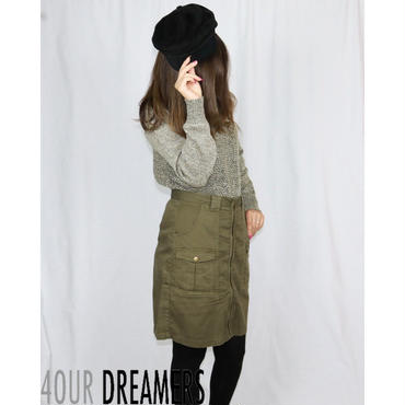 4OUR DREAMERS(フォーアワードリーマーズ)COTTON CANVAS FRONT ZIP SKIRT コットン キャンバス フロント ジップ スカート