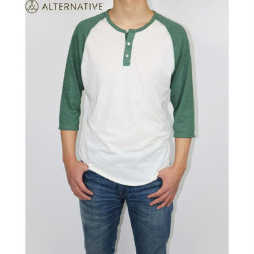 Alternative Apparel(オルタナテ ィブアパレル)Basic Eco-Jersey 3/4 Sleeve Raglan Henley Shirt ラグランシャツ
