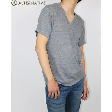 Alternative Apparel(オルタナテ ィブアパレル)Boss V-Neck Eco- J ersey T-Shirt VネックT グレー