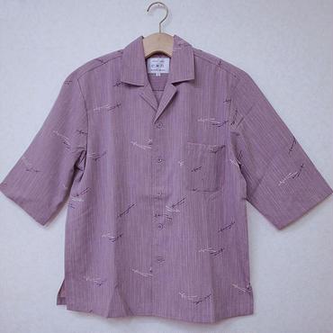 オリエンタル アロハシャツ (男性Lサイズ七分袖)紫鮫小紋+松葉