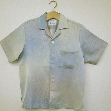 オリエンタル アロハシャツ (男性Mサイズ半袖) 青緑色泡模様
