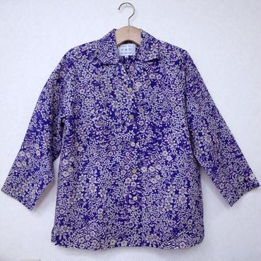 オリエンタルアロハシャツ (女性Mサイズ長袖) 藤色 花柄+地模様