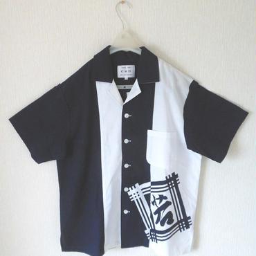 オリエンタル アロハシャツ  (男性Lサイズ半袖) 濃紺と白を大胆に切替え