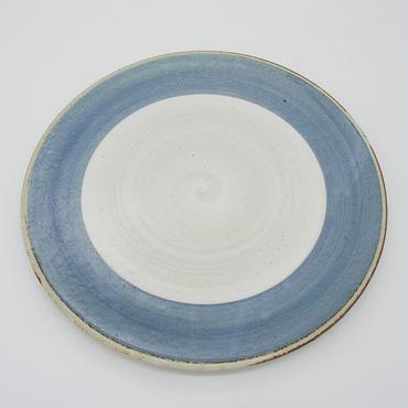 【パンとごはんと...】まるい縁取りの陶器 PLATE L blue