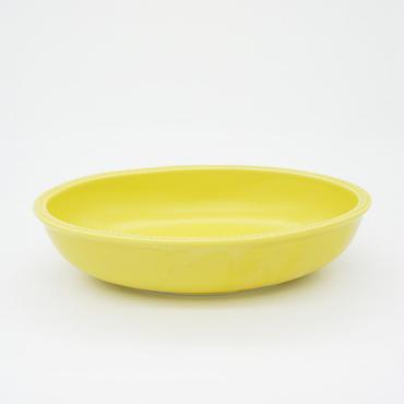 【M027yl】パンとごはんと... リムドット オーバルボウル S yellow
