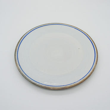 【M030bl】パンとごはんと...  一本線の白い器 PLATE M blue