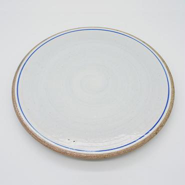 【M031bl】パンとごはんと... 一本線の白い器 PLATE L blue