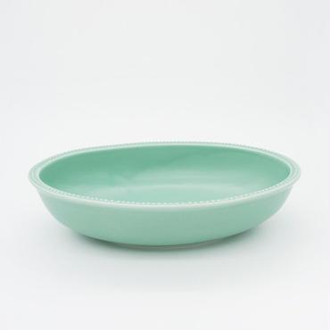 【M027gr】パンとごはんと... リムドット オーバルボウル S green