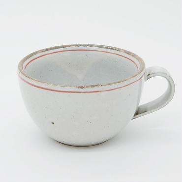【M032rd】パンとごはんと...  一本線の白い器 SOUP MUG red