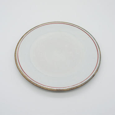 【M030rd】パンとごはんと...  一本線の白い器 PLATE M red