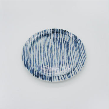 【M018b】パンとごはんと...  しましまのお皿 PLATE S 細駒筋