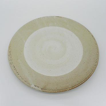 【パンとごはんと...】まるい縁取りの陶器 PLATE L gray