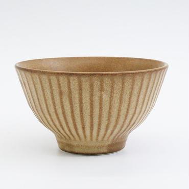 【M036br】パンとごはんと... しのぎの茶碗  brown
