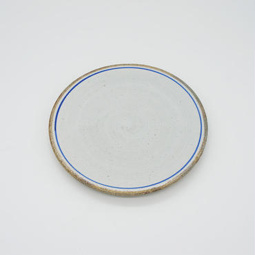 【M029bl】パンとごはんと...  一本線の白い器 PLATE S blue