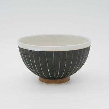 【パンとごはんと...】掻き落としの陶器 RICE BOWL black