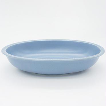 【M028bg】パンとごはんと... リムドット オーバルボウル L blue-gray