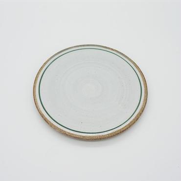 【M029gr】パンとごはんと...  一本線の白い器 PLATE S green