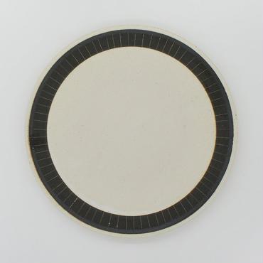 【パンとごはんと...】掻き落としの陶器 PLATE L black