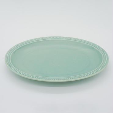 【M017gr】パンとごはんと... リムドット オーバルプレート L green