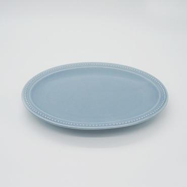 【M016bg】パンとごはんと... リムドット オーバルプレート S blue-gray
