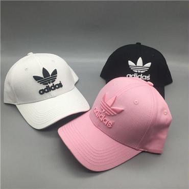 人気アディダス刺繍ロゴ帽子 キャップ 刺繍 白 黒 ピンク 日焼け止め帽子 定番