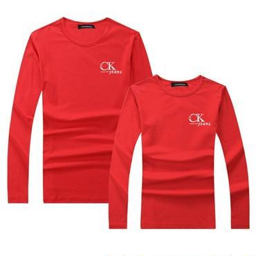 赤 秋新作人気Calvin Klein長袖シャツ 男女兼用 カルバンクライントレーナー Tシャツ 高品質
